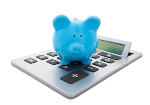 graphic - blue piggy bank on calculator
